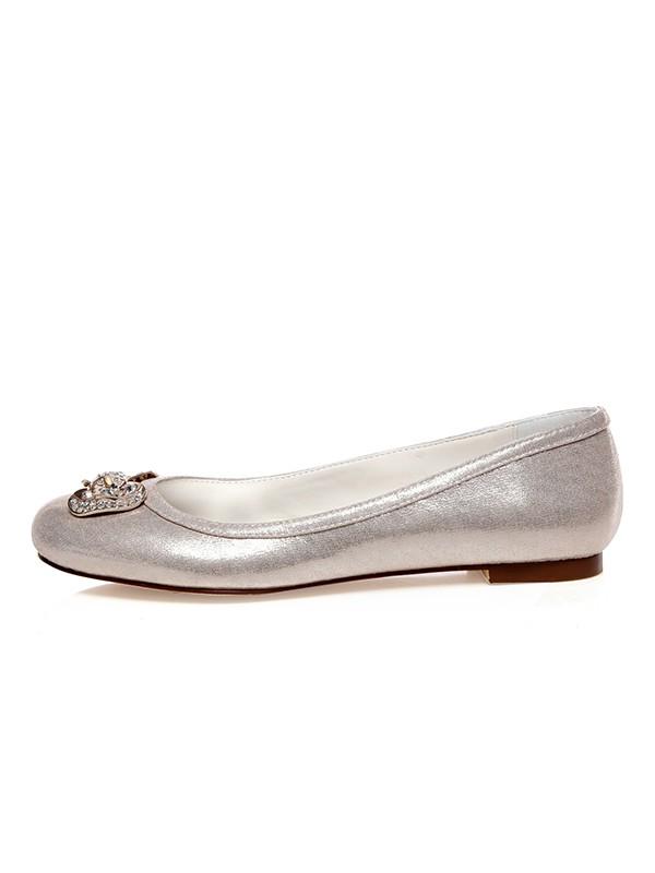 Women's PU Closed Toe Rhinestones Flat Heel Wedding Shoes