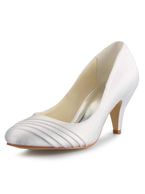 Women's Cone Heel Satin Closed Toe White Wedding Shoes