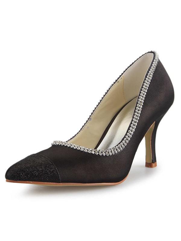 Women's Satin Spool Heel Closed Toe With Rhinestone Office High Heels