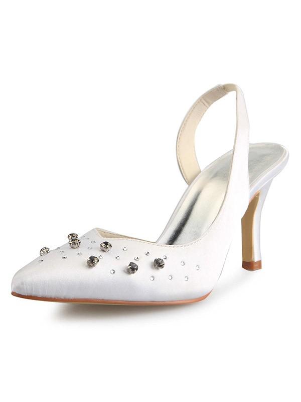 Women's Slingbacks Stiletto Heel Closed Toe Satin With Rhinestone White Wedding Shoes
