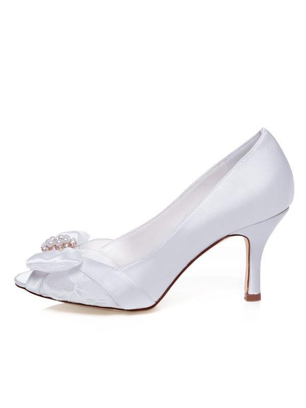 Women's Satin Peep Toe Stiletto Heel Bowknot Wedding Shoes