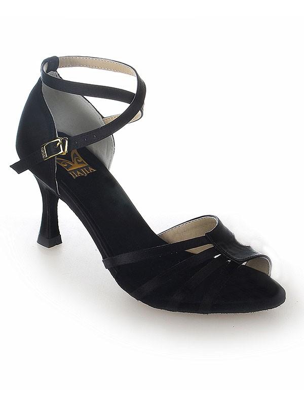 Women's Peep Toe Satin Stiletto Heel Buckle Dance Shoes