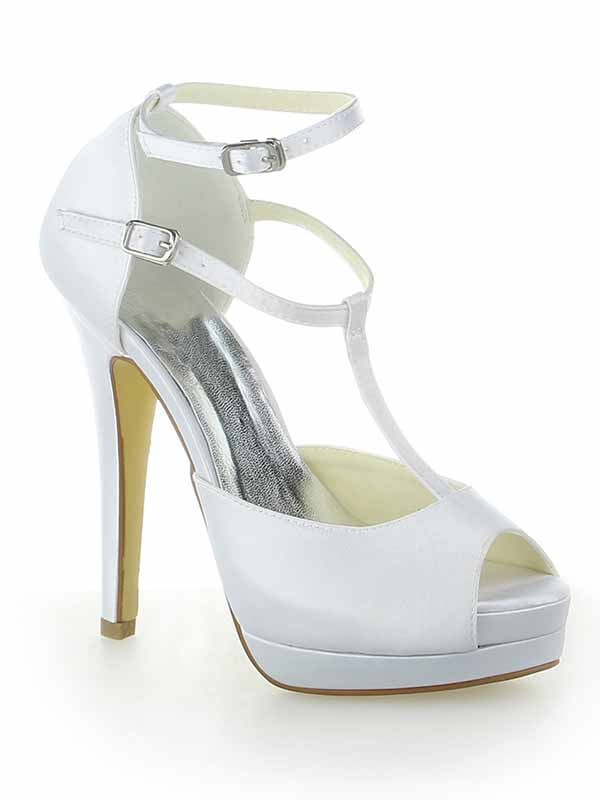 Women's Satin Mary Jane Peep Toe Stiletto Heel Platform With Buckle White Wedding Shoes
