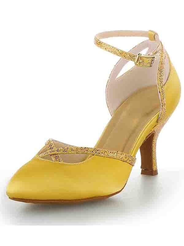 Women's Cone Heel Satin Closed Toe With Buckle High Heels