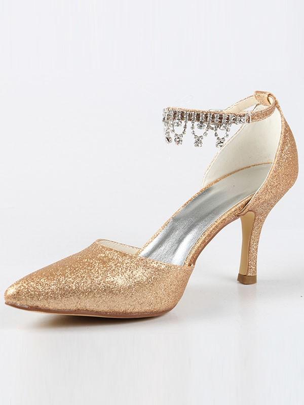 Women's Mary Jane Closed Toe Cone Heel With Rhinestone High Heels