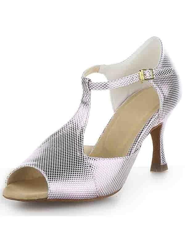 Women's Satin Peep Toe Spool Heel With Buckle Sandals Shoes