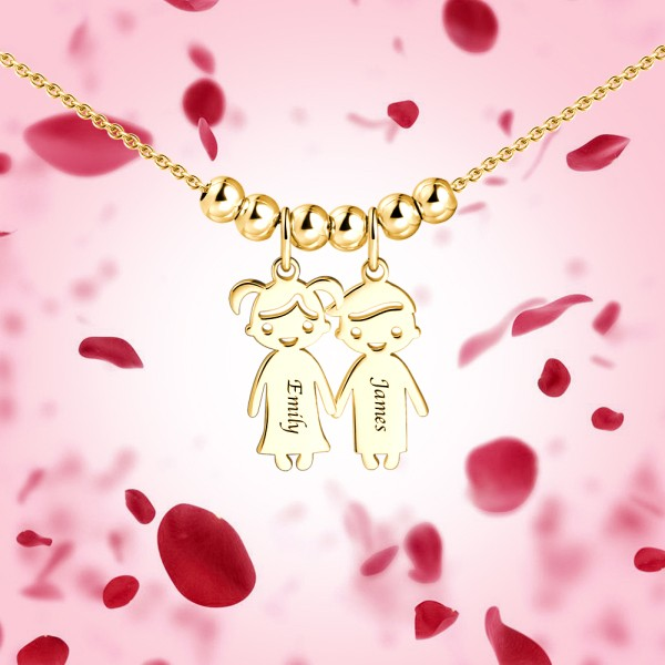 Mother's Day Gift - Engraved Children Charms Pendant Necklace