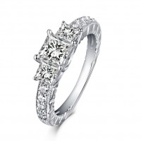 Cushion Cut S925 Silver White Sapphire 3-Stone Engagement Rings