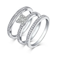 Princess & Round Cut 925 Sterling Silver White Sapphire 3 Piece Ring Sets