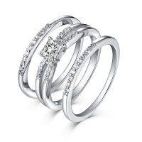 Round & Princess Cut 925 Sterling Silver White Sapphire 3 Piece Ring Sets