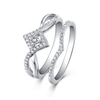 Princess Cut 925 Sterling Silver White Sapphire Halo Ring Sets