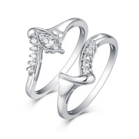 Round Cut S925 Silver White Sapphire Art Deco Ring Sets