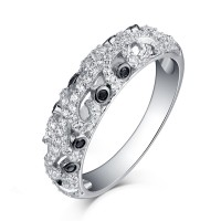 Round Cut White and Black Sapphire Sterling Silver Wedding Bands
