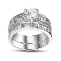 Heart Cut Pink Sapphire 925 Sterling Silver Bridal Sets