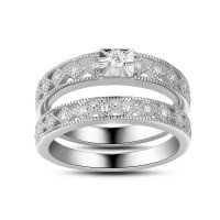 Women's White Sapphire Round Cut 925 Sterling Silver Bridal Sets