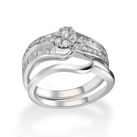 Flower Round Cut White Sapphire 925 Sterling Silver Bridal Sets