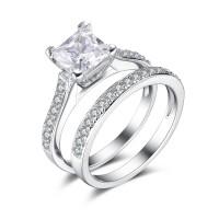 Princess Cut Gemstone 925 Sterling Silver Bridal Sets
