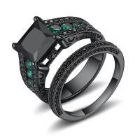 Black 925 Sterling Silver Black Princess Cut Bridal Sets