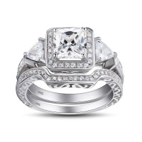 Princess Cut Gemstone 925 Sterling Silver Bridal Sets
