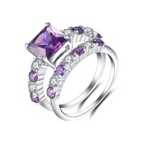 Radiant Cut Amethyst 925 Sterling Silver Bridal Sets