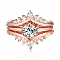 Round Cut S925 Silver White Sapphire Rose Gold 3 Piece Ring Sets