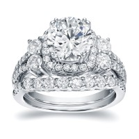 Round Cut White Sapphire Sterling Silver Halo Bridal Sets
