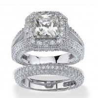 Princess Cut White Sapphire 925 Sterling Silver Halo Bridal Sets