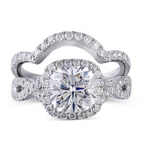 Cushion Cut White Sapphire 925 Sterling Silver Halo Bridal Sets
