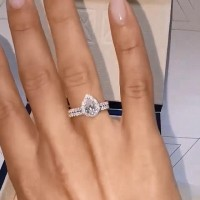 Pear Cut White Sapphire 925 Sterling Silver Halo Ring Sets