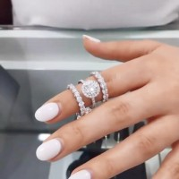 3.75 Carat Round Cut White Sapphire 925 Sterling Silver Halo 3-Piece Bridal Sets