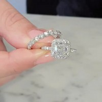 Cushion Cut White Sapphire 925 Sterling Silver Halo Bridal Sets