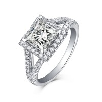 Princess Cut Halo 925 Sterling Silver White Sapphire Engagement Rings