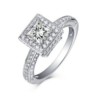 Cushion Cut 925 Sterling Silver Halo White Sapphire Engagement Rings