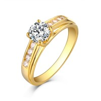 Round Cut Gold 925 Sterling Silver White Sapphire Engagement Rings