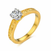 Round Cut Sterling Silver Women's Engagement Ring