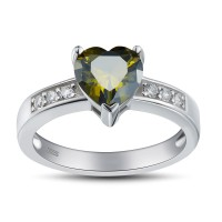 Heart Cut Emerald 925 Sterling Silver Promise Rings For Her