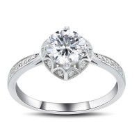Round Cut White Sapphire 1.0CT 925 Sterling Silver Promise Rings For Her