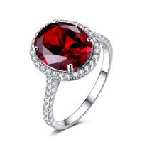 Garnet Big Cushion Cut 925 Sterling Silver Women's Ring