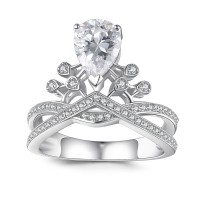 Crown Pear Cut Gemstone 925 Sterling Silver Engagement Ring