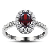 Oval Cut Garnet 925 Sterling Silver Birthstone Ring