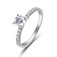 Round Cut White Sapphire Sterling Silver Women's Engagement Ring