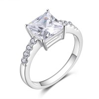 Princess Cut 925 Sterling Silver White Sapphire Women's Engagement Ring