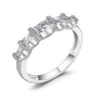 Princess Cut White Sapphire 925 Sterling Silver Women's Wedding Bands