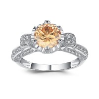 Round Cut Orange Sapphire 925 Sterling Silver Engagement Ring