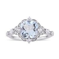 Cushion Cut Aquamarine Sterling Silver Halo Engagement Rings