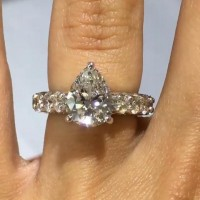 Pear Cut White Sapphire 925 Sterling Silver Engagement Ring