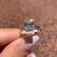 7.4 Carat Radiant Cut White Sapphire 925 Sterling Silver Classic Engagement Rings