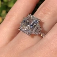Radiant Cut White Sapphire 925 Sterling Silver 3-Stone Engagement Rings