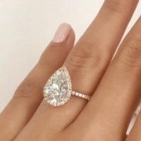 Pear Cut White Sapphire 925 Sterling Silver Rose Gold Halo Engagement Rings