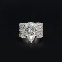 Pear Cut White Sappire 925 Sterling Silver Engagement rings